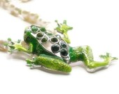 Green Frog Necklace Pearl Peridot Woodland Nature Chunky Spring Whimsy June August Gemstone