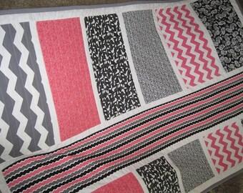 "Handmade Gray & Pink Chevron Baby Girl Crib Quilt ""La di Da Lane"" Birds Dots Chevron and Stripes-Unique Pink Gray Baby Toddler Nursery Quilt"