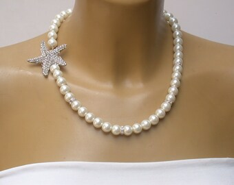 Bridal Jewelry Beach Wedding Starfish Necklace Wedding Pearl  Bridal Necklace,  Vintage  Rhinestone Wedding Bridal Jewelry Bridesmaid Gifts