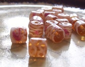 Iced Peach - Chubby Glass Tube Beads - Floral Squiggle - 24 beads