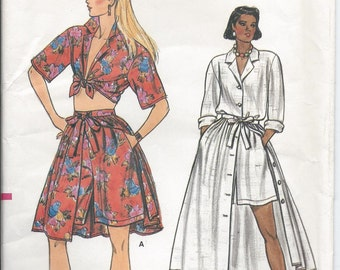1980s Vintage VOGUE Misses' Shirt, Skirt and Shorts Sewing Pattern - Size 6-8-10 FACTORY FoLDED
