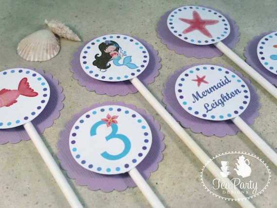 Mermaid Party Custom Cupcake Toppers - Blue Lagoon Collection