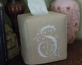 "Custom - Made To Order - Monogrammed Essex Natural Linen Tissue Box Cover - French Lettering ""S"""