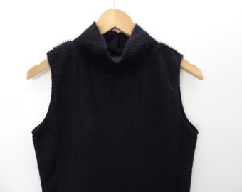 90s Black Fuzzy Faux Fur Tank Top