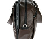 Brown Faux Leather, backpack, Padded Laptop Bag ,Overnight Bag - Neo