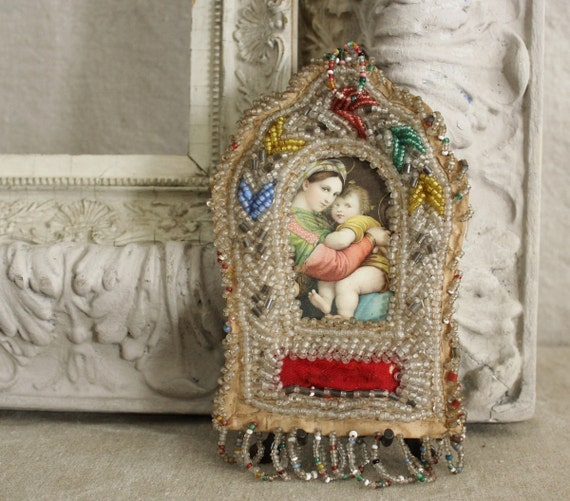 Antique Iroquois Beaded Frame By Robinseggbleunest On Etsy