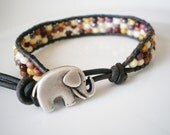Elephant Friendship Bracelet Czech Glass Ochre Palette