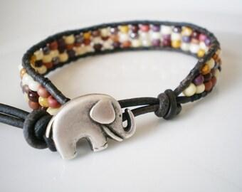 Elephant Friendship Bracelet Czech Glass Ochre Palette