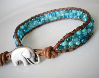 Friendship Bracelet Czech Glass Elephant Button