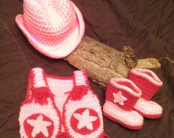 Cowboy Hat Booites Vest Baby Crochet (made to order)