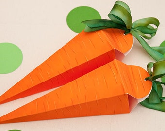 CARROT Favor Box : Easter DIY Printable PDF | Rabbit Gift Box | Farm Party | Easter Party | Print at Home | Vegetable | Instant Download