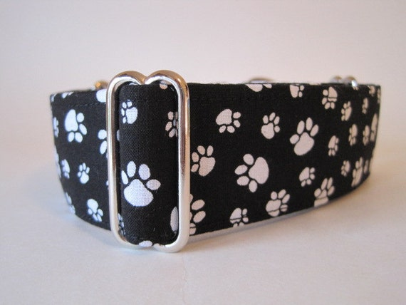 """1.5"""" Martingale Collars, 2 inch Martingale Collar, Paws Martingale Collar, Black and White Dog Collar, Martingale Dog Collar"""