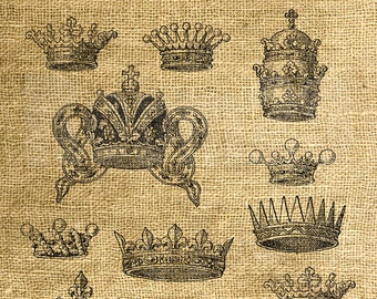 INSTANT DOWNLOAD - Vintage Crowns Illustrations - Download and Print - Image Transfer - Digital Collage Sheet by Room29 - Sheet no. 753