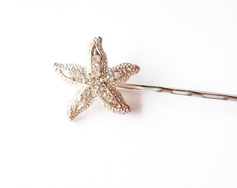 Rhinestone Starfish Hair Pin Bridal Bobby Pin Silver Crystal Clip Bride Bridesmaid Destination Beach Wedding Accessories Womens Gift For Her