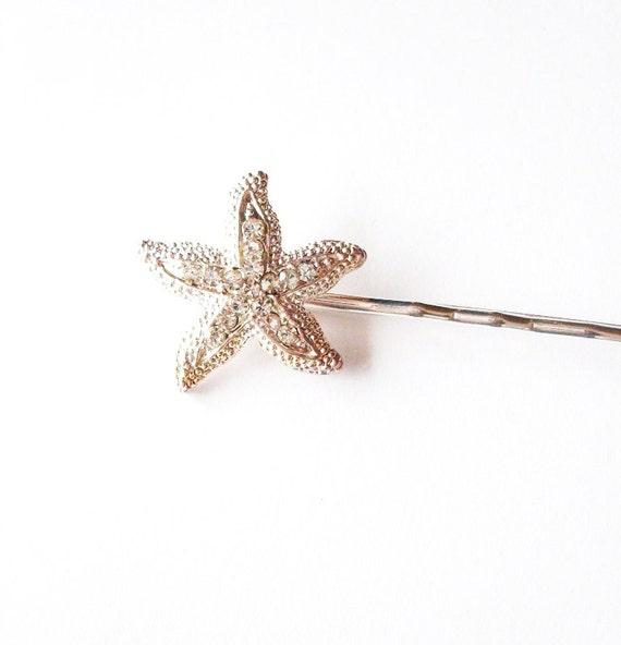 Rhinestone Starfish Hair Pin Bridal Bobby Pin Silver Crystal Clip Bride Bridesmaid Destination Beach Wedding Accessories Womens Gift For Her