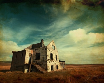 house of forgotten dreams, abandoned house, fine art print, iceland photography, architecture landscape, vast skies