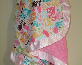 Michael Miller Forest Life Blanket with Satin Ruffle-Ships in 1-3 Business Days