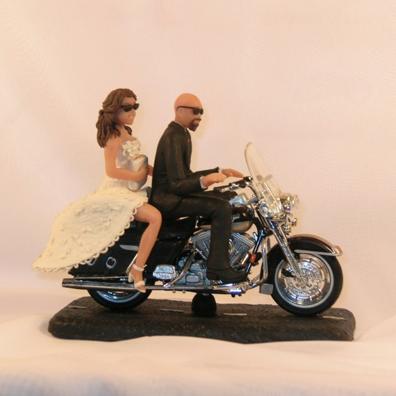 Bald Groom Motorcycle Cake Topper
