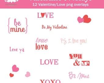Holiday Overlays VALENTINE Love Photo Scrapbook  INSTANT DOWNLOAD
