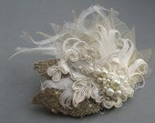 Wedding fascinator bridal hair accessory headpiece Natural burlap  Nude Ivory leaves lace feather pearl tulle netting