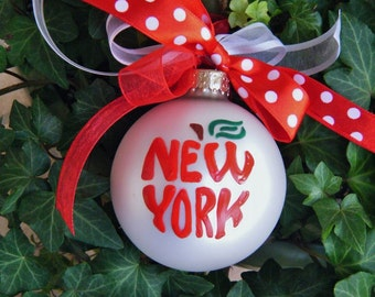 New York City Ornament - The Big Apple, Personalized Vacation, Hand Painted Keepsake ornament, The City that Never Sleeps Christmas Ornament