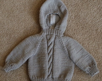 Knitted Hooded Baby Sweater with Back zipper size 3 Months  190