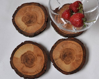 handmade oak wooden coasters  • set of 4