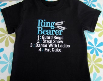 Embroidered - Ring Bearer shirt or bodysuit - turquoise & white - silver/platinum rings