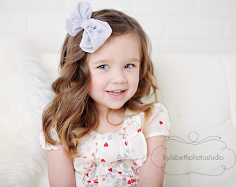 LAST ONE-the Sophia- light grey chiffon fabric bow on skinny elastic headband, hair accessory