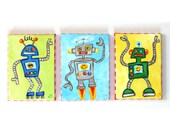 Kids Wall Art, Happy Robot Trio, Three 5x7 Acrylic Canvas, Childrens Wall Art for Boys Rooms, Nursery Decor