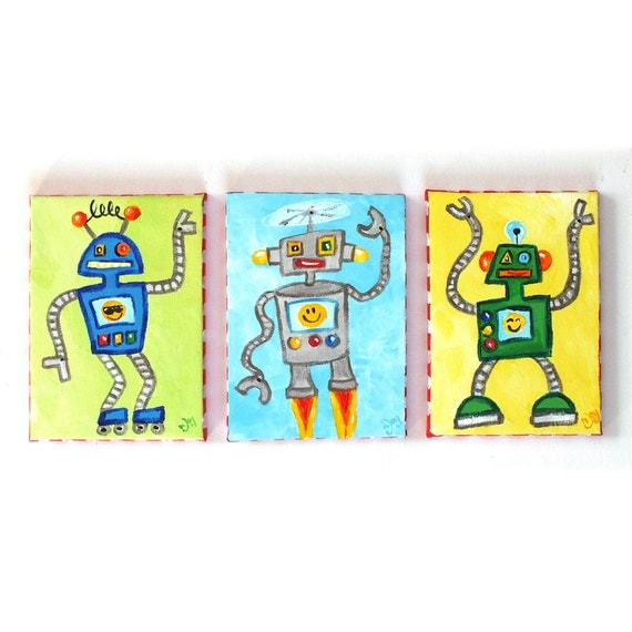 Kids wall art happy robot trio three 5x7 acrylic canvas for Kids room canvas