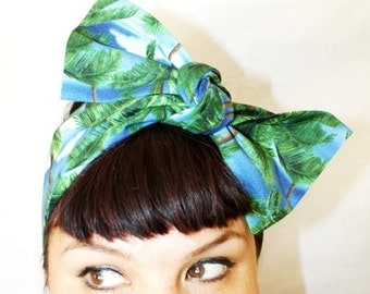 Vintage Inspired Head Scarf, Palm Trees, Beaches, Surf, Retro