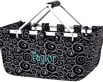 Large black and white swirl market tote with personalized embroidery
