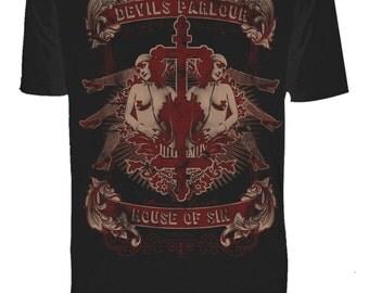 Mens House of Sin Devil's Parlour Black Tee