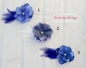 Flower girl hair clip, alligator clip, vintage hair clip, blue flower hair clip, flower girl hair accessorie, feather hair clip