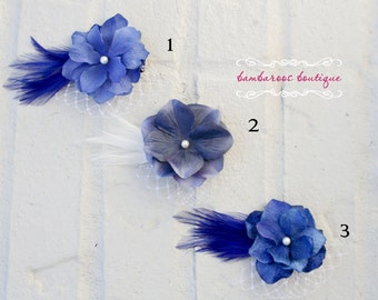 Flower girl hair clip, alligator clip, vintage hair clip, blue flower hair clip, flower girl hair accessorie, feather hair clip