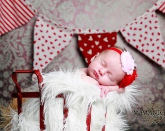 Red Baby Headband, Newborn headband, red headband, girls headband, birthday girl headband, baby headband