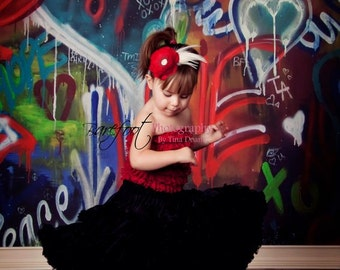 Red Flower Headband, baby headband, Feather headband,  photography prop