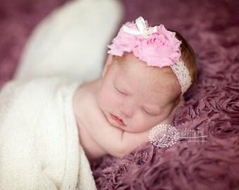 baby headband, infant headband, pink baby headband, white baptism headband
