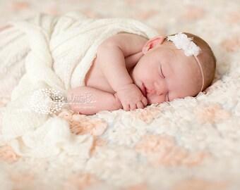 pink baby headband, newborn headbands, small pink flower, infant headband, toddler headband, baptism headband