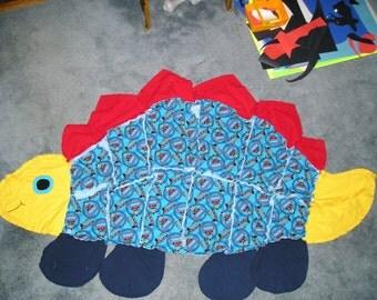 Thomas the Tank Dinosaur Shape Flannel Fabric Rag Quilt