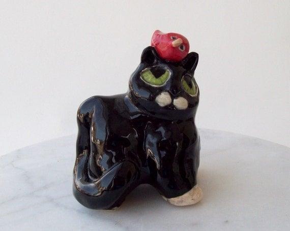 Smoking gato escultura cerámica construido a mano cerámica gres