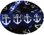 Glitter Anchor Ribbon 5 yards- 7/8  inch Navy Sparkle Anchors printed grosgrain ribbon