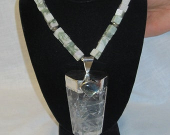 Large crystal with labradorite accent with peace jade beads and silver