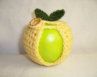 Handmade Crocheted Apple Cozy - Crochet Apple Cozy in Cornmeal Color