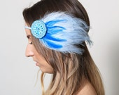 Sea Maiden Feather Beaded Headband - mermaid, ocean, wave, water, blue