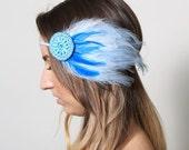Sea Maiden Feather Beaded Headband - mermaid, ocean, wave, water, blue - neesiedesigns