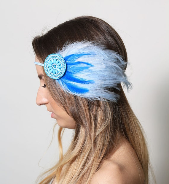 Sea Maiden Feather Beaded Headband - mermaid, ocean, wave, water, blue