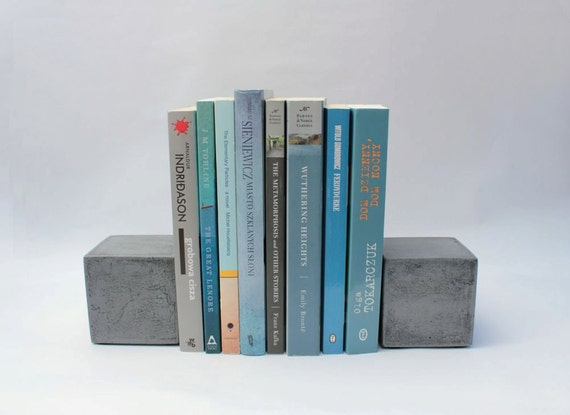 SALE! Modern Square Concrete Bookends (Set Of 2) / Heavy Bookends / Office  Bookends / Paper Weights / Kitchen Bookends / Cement Bookends