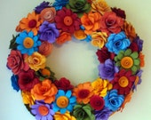 Wreath Custom Order Paper Flower Wreath Spring has Sprung 12 to 13 inch wreath In your choice of Colors